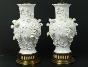 PAIR OF BLANC-DE-CHINE PORCELAIN LAMPS