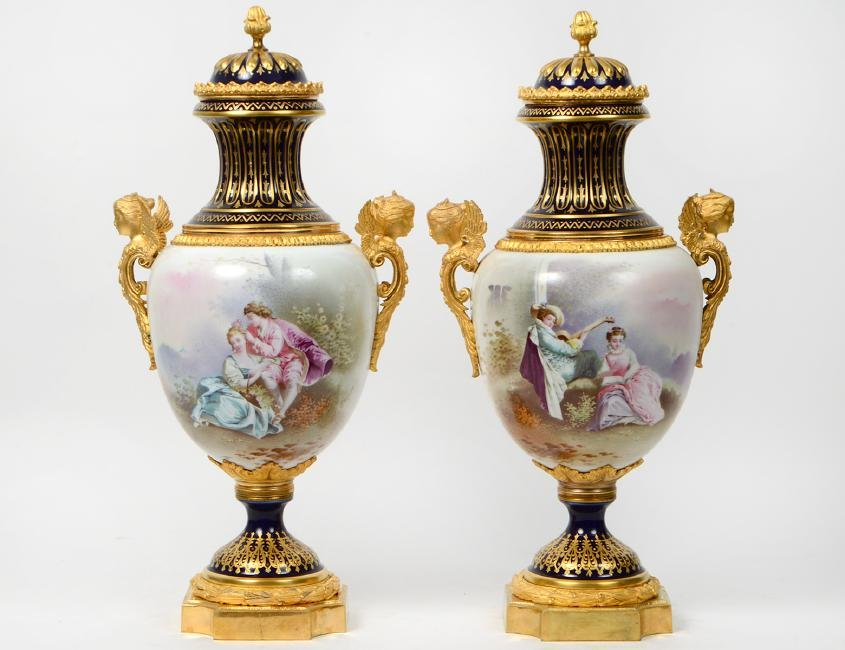 PAIR OF 'SEVRES' GILT BRONZE & PORCELAIN VASES