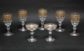 Grouping Of Seven Gilt Trim Glasses