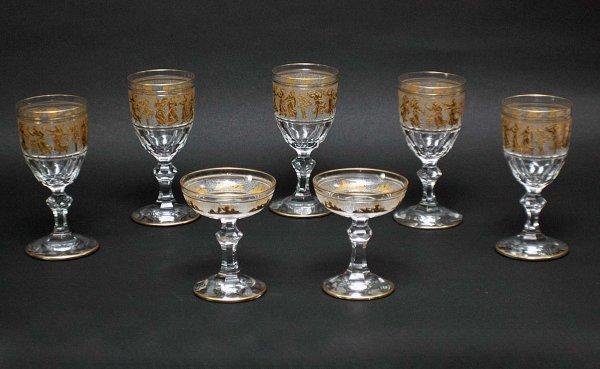 1: Grouping of Seven Gilt Trim Glasses