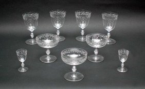3: Nine Blown Glass Stems with Crown over N & Etched