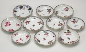 Ten Antique Sevres Saucers With Floral Sprigs