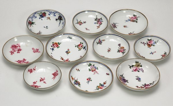 7: Ten Antique Sevres Saucers with Floral Sprigs