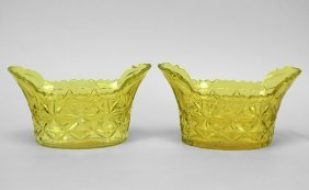 Pair Antique Yellow Finely Cut Glass Heavy Bowls