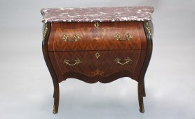 15: French Bombe Front Two Drawer Marble Top Chest
