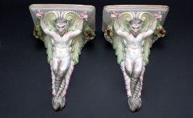 Pair Satyr Motif Wall Brackets Glazed Pottery