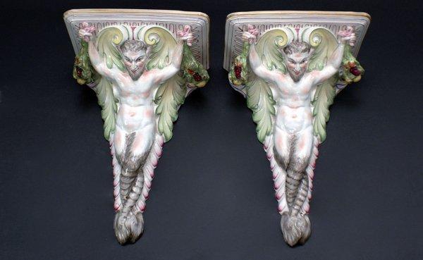19: Pair Satyr Motif Wall Brackets Glazed Pottery