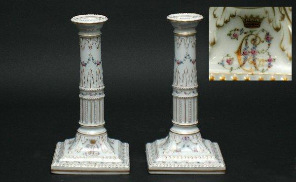 20: Pair Antique Finely Painted Porcelain Candlestick