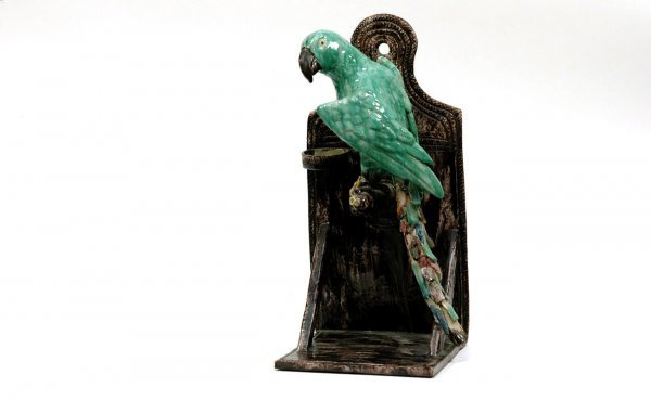 227: Majolica Pottery Parrot Hanging Wall Bracket