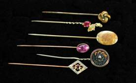 345: Six Antique Stick Pins