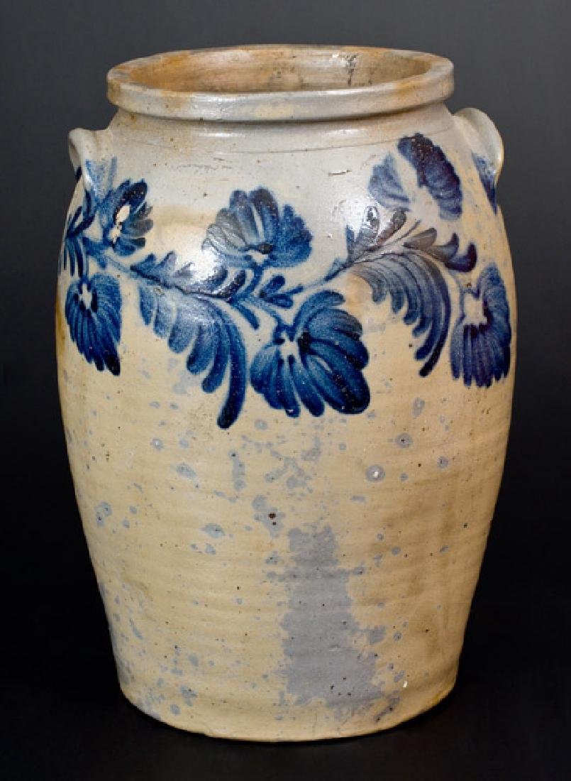 3 Gal. Baltimore Stoneware Jar with Exceptional Floral