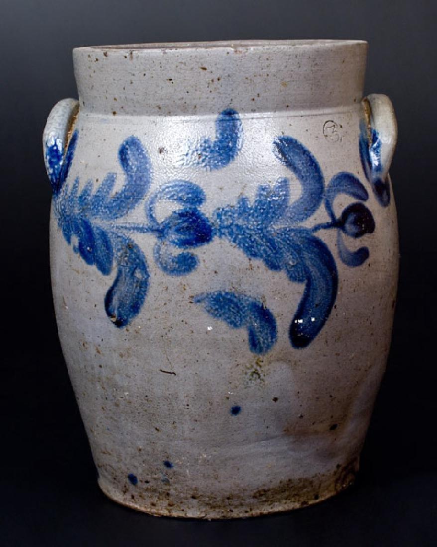 3 Gal. Baltimore Stoneware Jar with Floral Decoration,