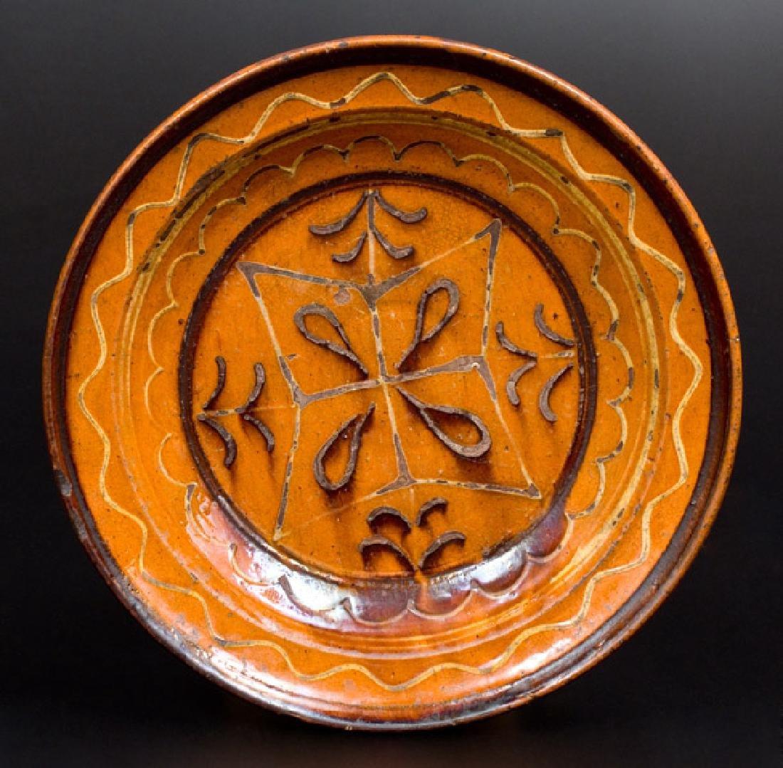 Slip-Decorated Redware Dish, possibly North Carolina