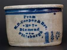 Western PA Stoneware Bowl w W D COOPER  PITTSBURGH