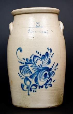 OTTMAN BRO'S. Stoneware Churn with Floral Decoration