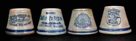 Four Advertising Stoneware Match Safes, attrib. Whites