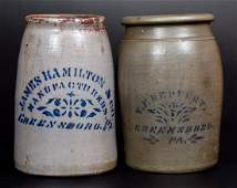 Lot of Two GREENSBORO PA Stoneware Canning Jars by