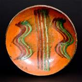 Redware Plate w TwoColor Slip Decoration Dryville