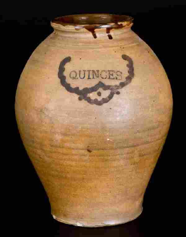 Rare C. CROLIUS (Manhattan) Stoneware QUINCES Jar