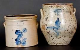 Lot of Two New Jersey Stoneware Crocks Marked J M