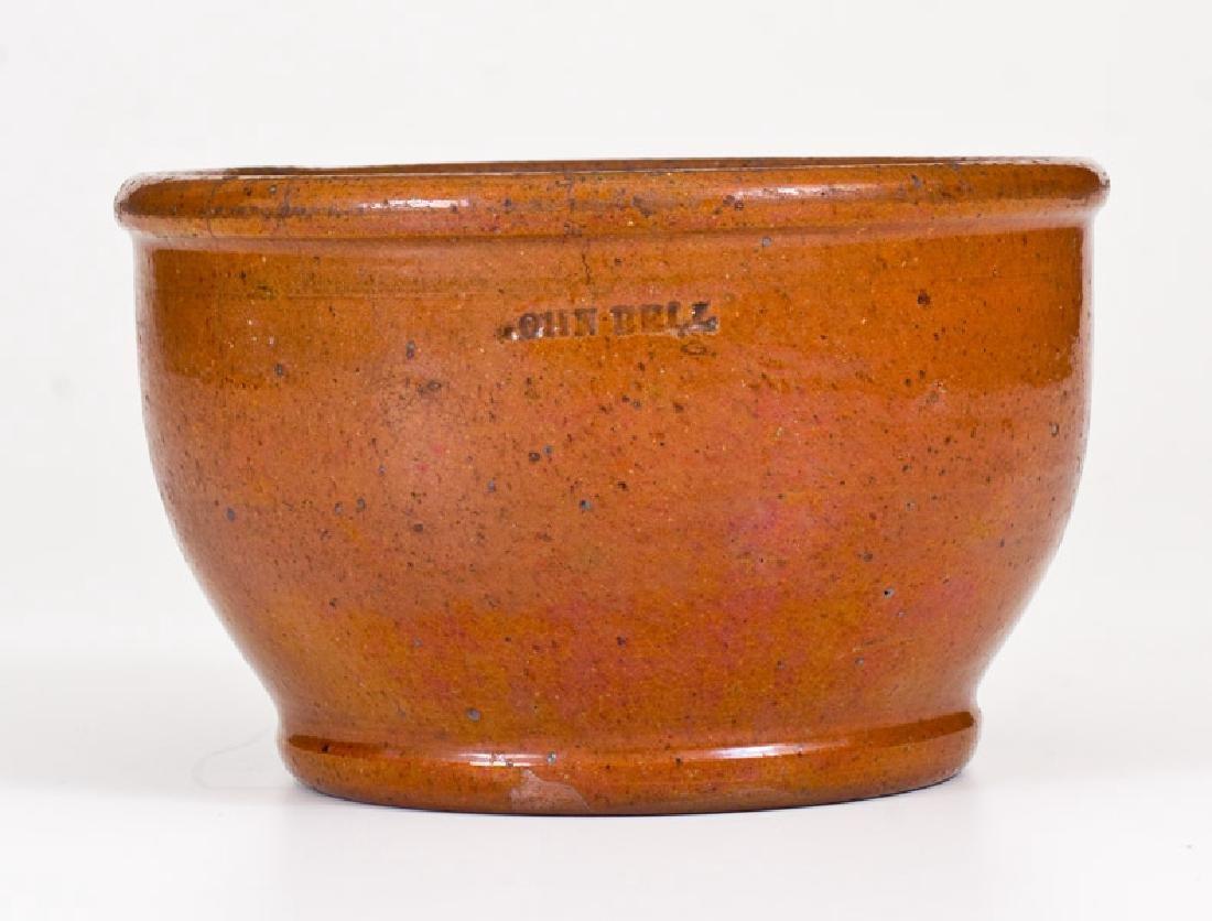 Unusual JOHN BELL (Waynesboro, PA) Redware Footed Bowl