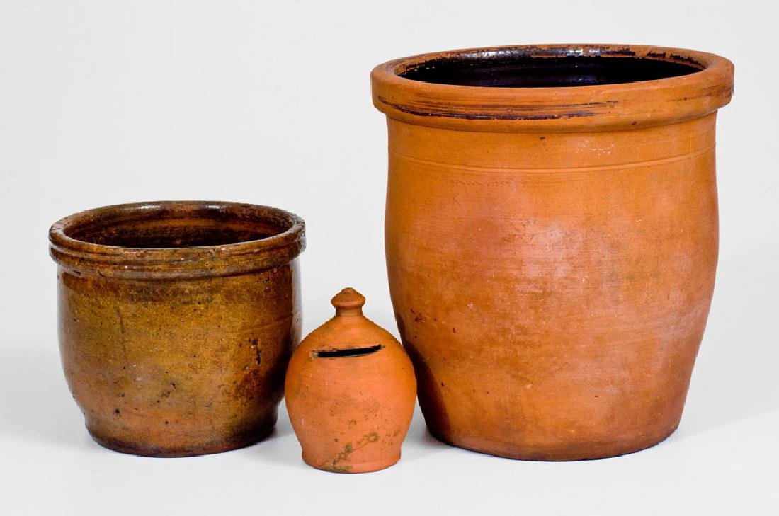 Lot of Three: Redware Articles incl. JOHN BELL /