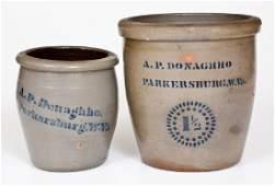 Two A.P. DONAGHHO / PARKERSBURG, W.Va. Cobalt-Decorated