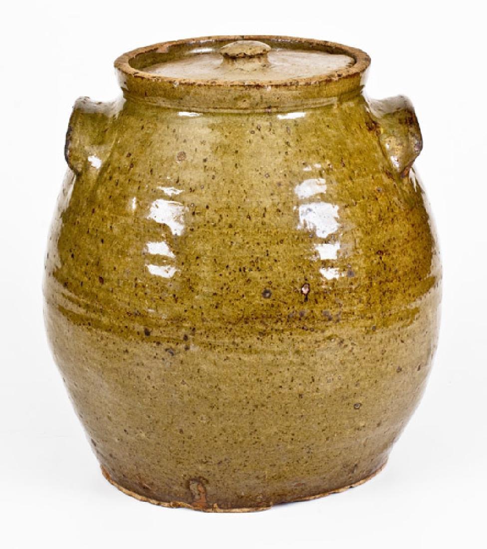 Unusual South Carolina Stoneware Lidded Jar with