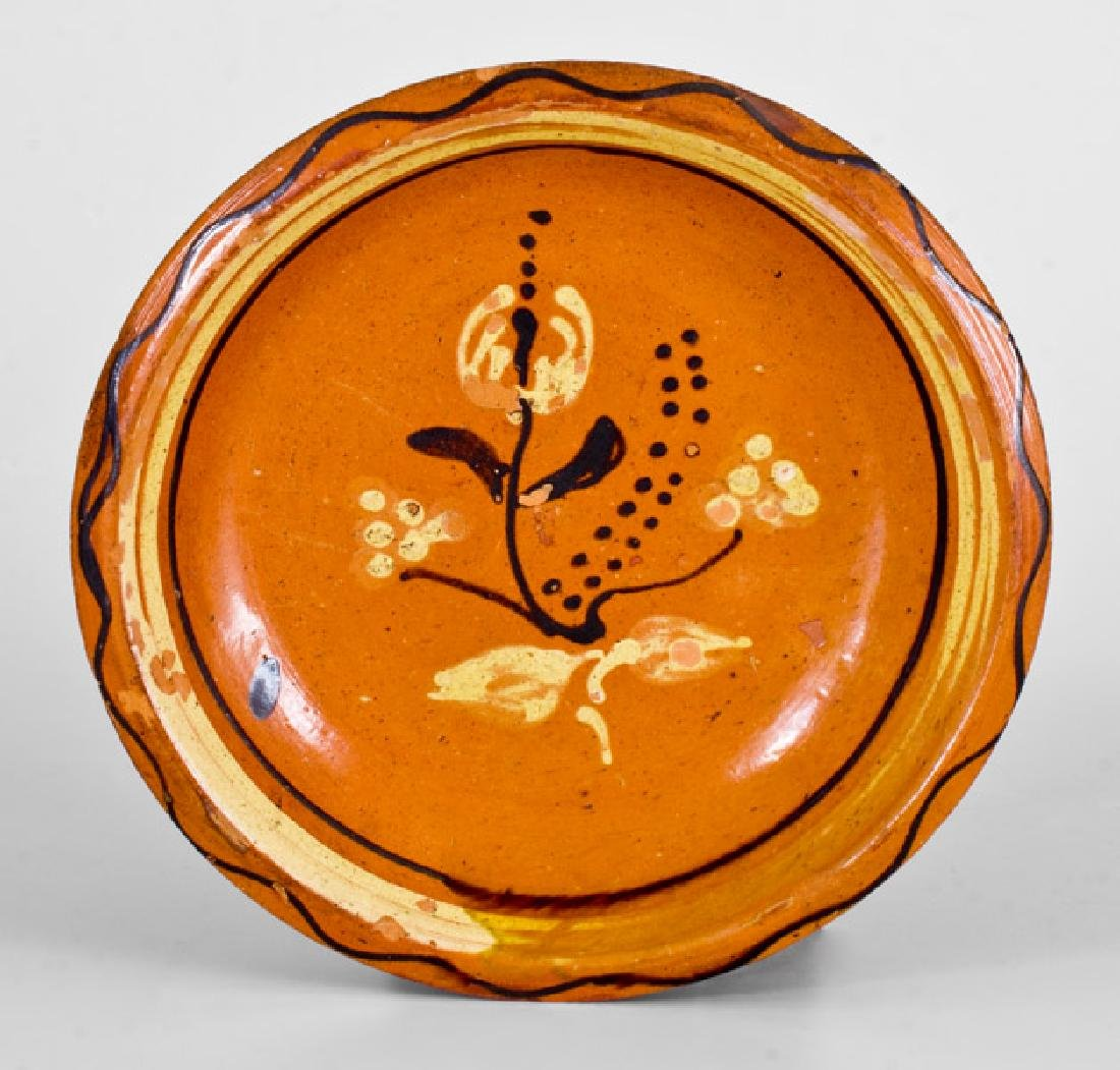 Fine Redware Bowl with Two-Color-Slip Floral