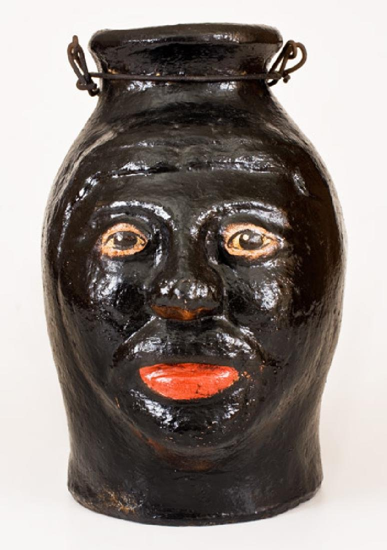 Very Rare Cold-Painted Face Jug, North Wilkesboro, NC,