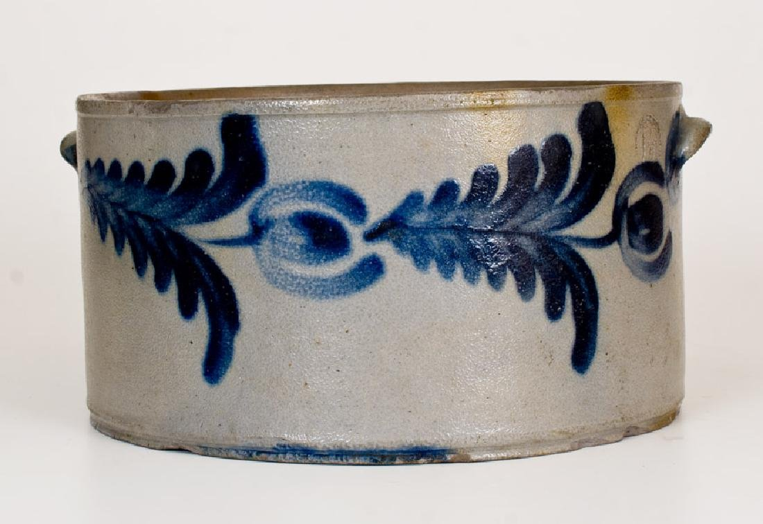 1 1/2 Gal. Stoneware Cake Crock with Floral Decoration,