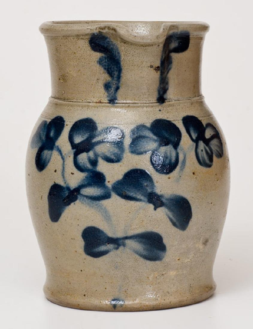 Half-Gallon Stoneware Pitcher with Floral Decoration,