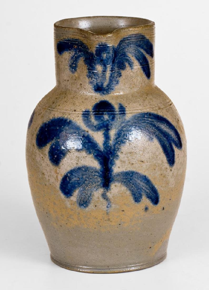 Baltimore Stoneware Pitcher with Floral Decoration,