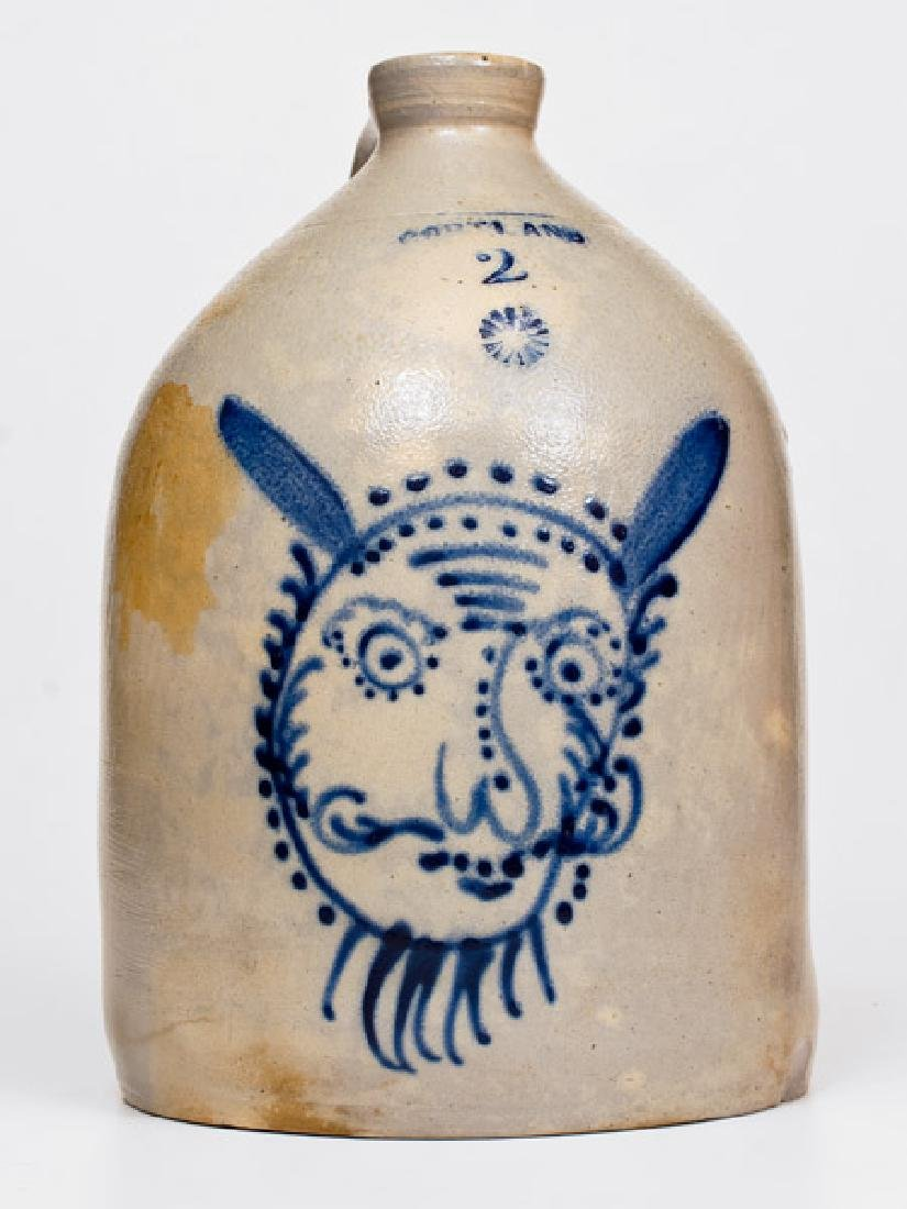 Outstanding CORTLAND, New York Stoneware Jug with Devil