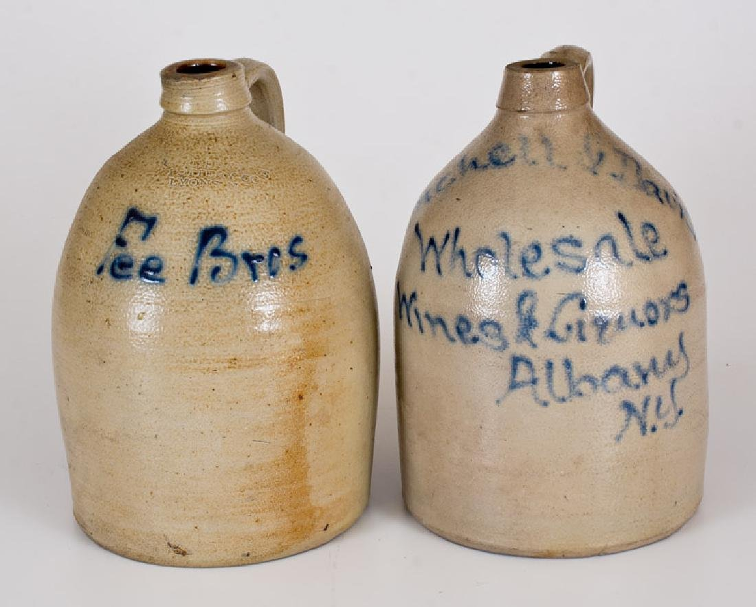 Lot of Two: NY Stoneware Advertising Jugs incl. Albany,