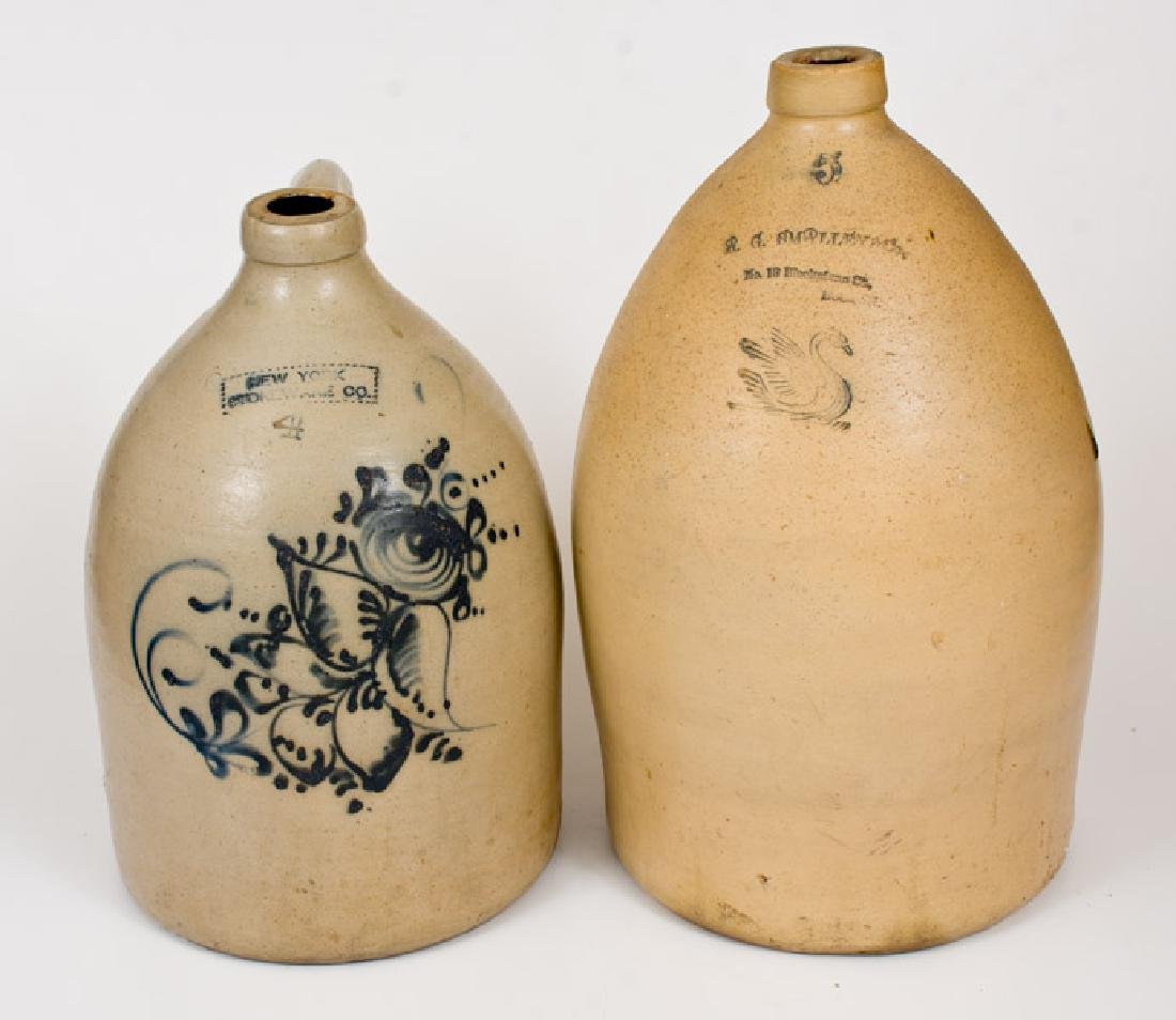 Lot of Two: NY STONEWARE CO. Jug, BOSTON Advertising