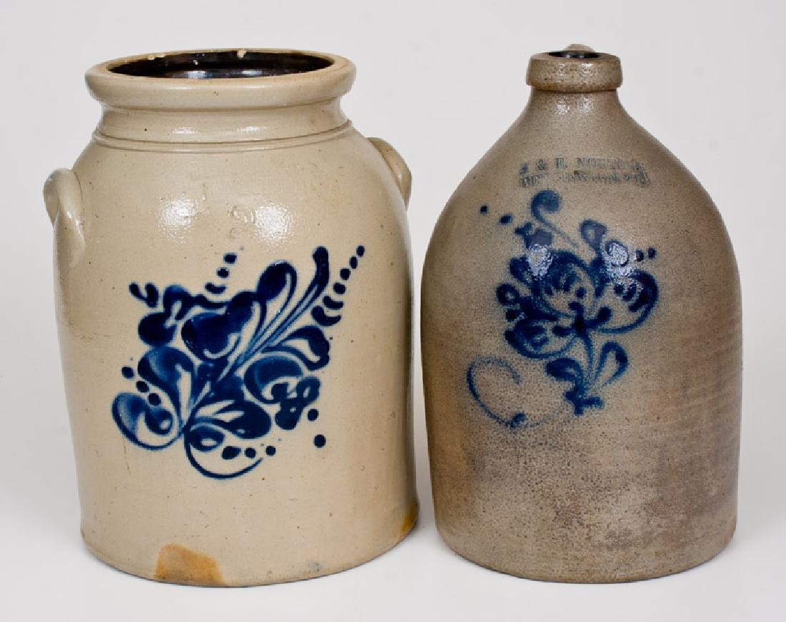 Lot of Two: Bennington, VT Stoneware Jug and Fort