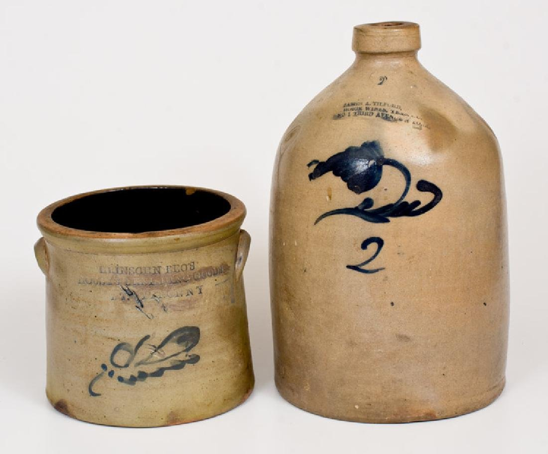 Lot of Two: MT. VERNON, NY Advertising Crock, THIRD
