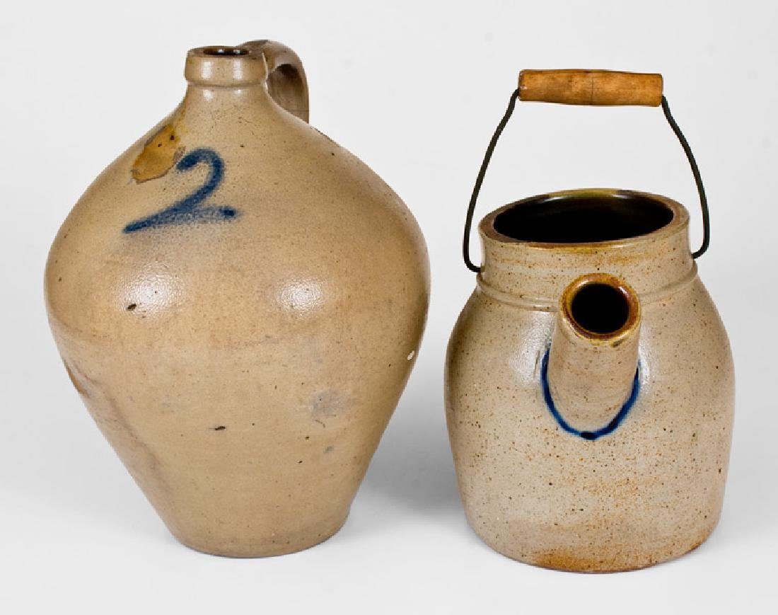 Lot of Two: 2 Gal. Ovoid Stoneware Jug and Stoneware