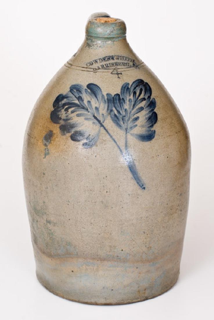 4 Gal. COWDEN & WILCOX / HARRISBURG, PA Stoneware Jug