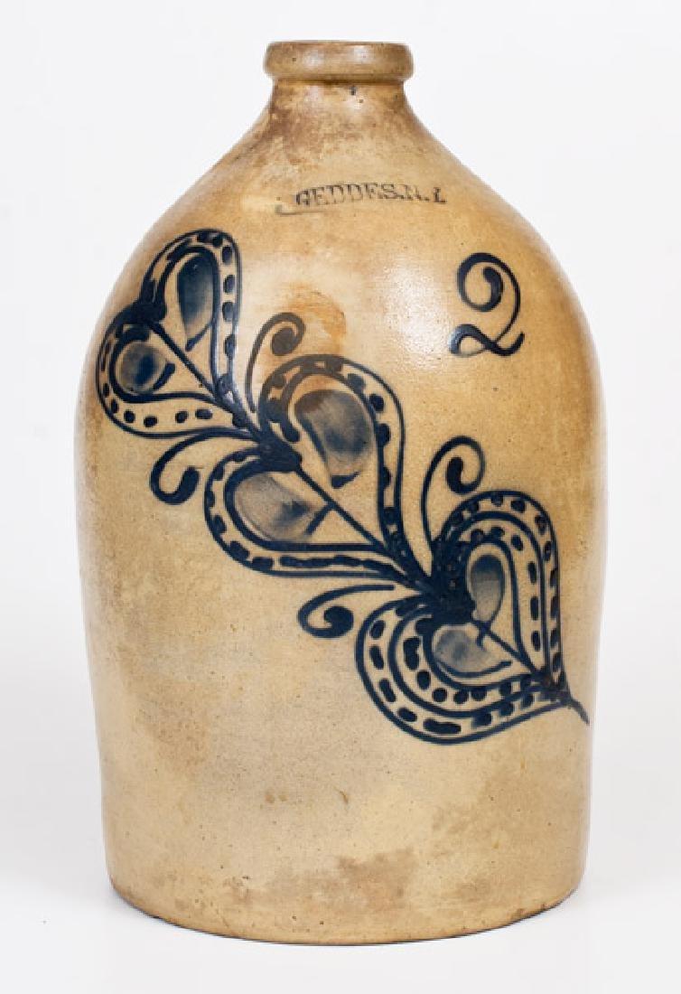 Scarce GEDDES. N.Y. Two-Gallon Stoneware Jug w/ Hearts