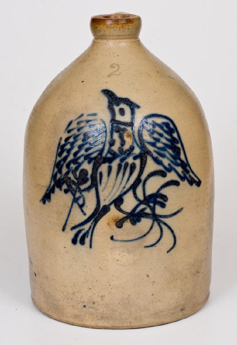 Unusual 2 Gal. Stoneware Eagle Jug att. Barnabas