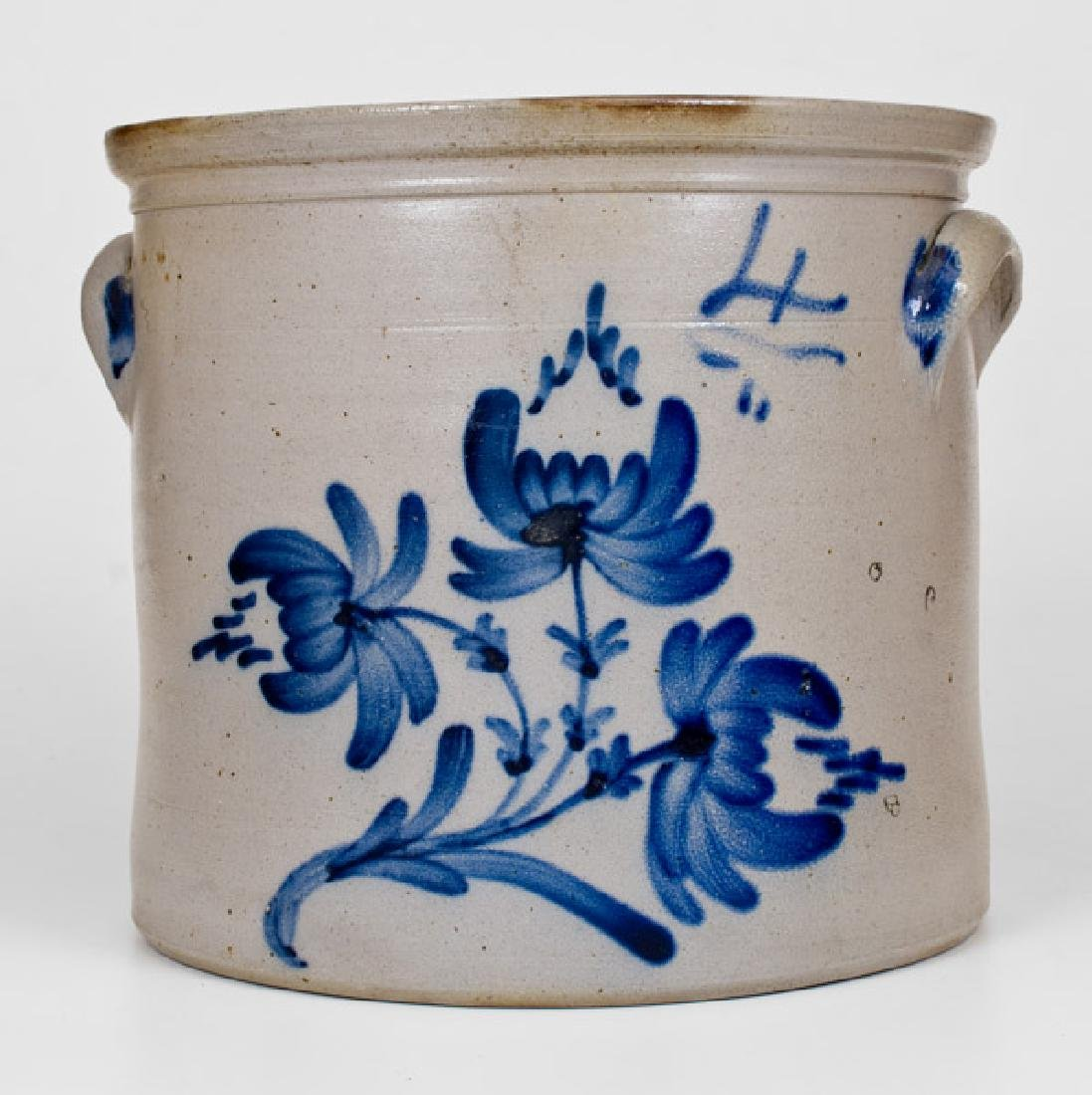 Four-Gallon New York State Stoneware Crock with Cobalt