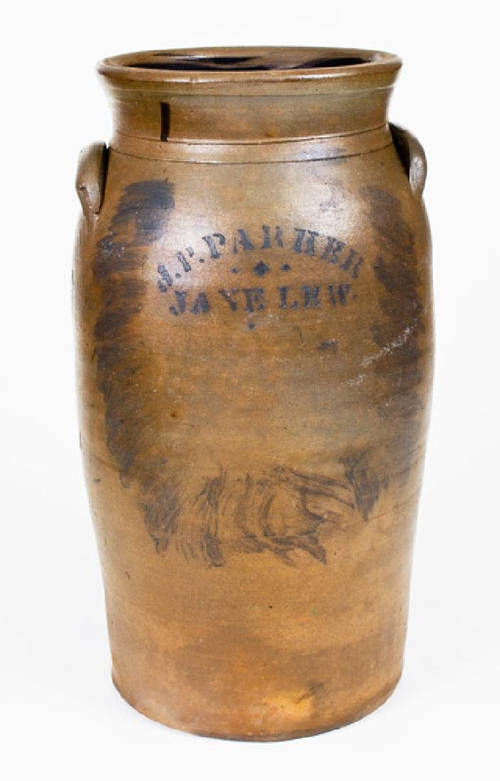 Fine 5 Gal. J. P. PARKER / JANE LEW Stoneware Churn
