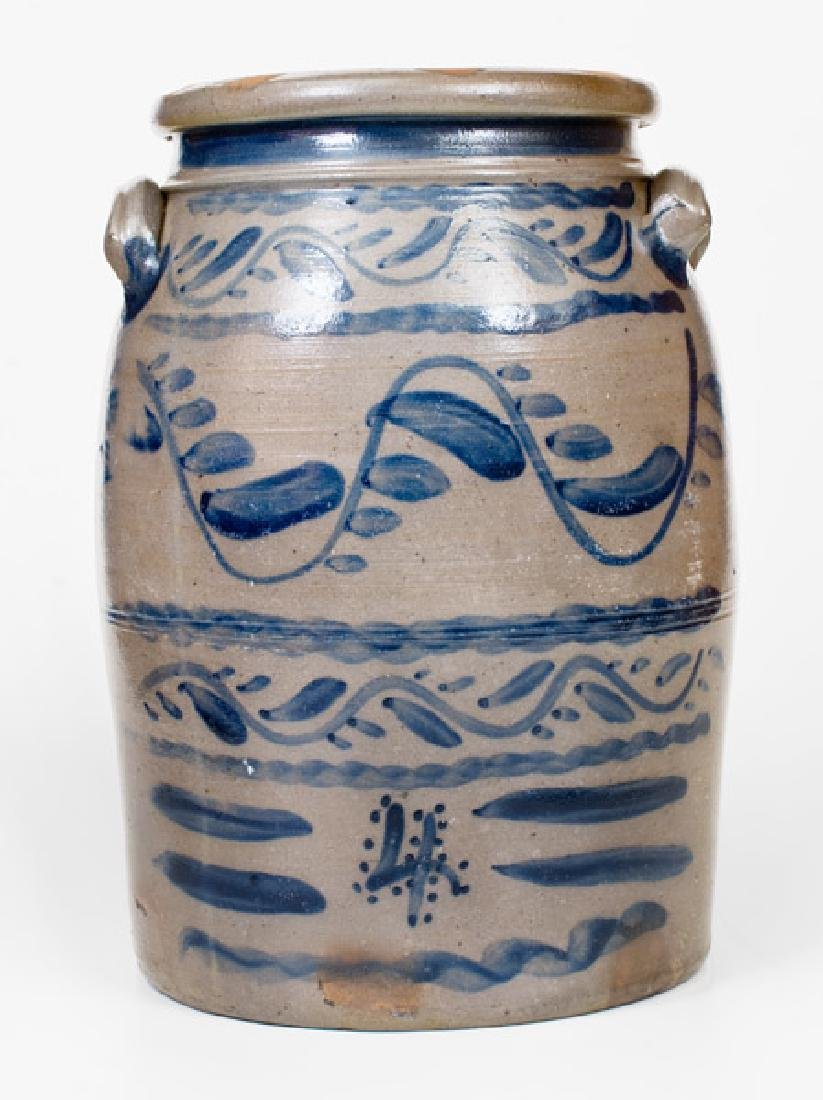 4 Gal. Stoneware Jar with Profuse Cobalt Decoration