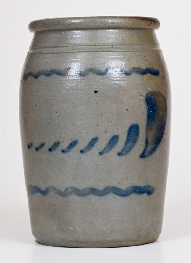 Half-Gallon Stoneware Jar with Freehand Cobalt