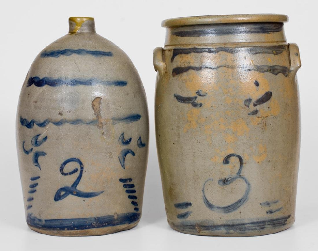 Lot of Two: Western PA Stoneware Jug and Jar with