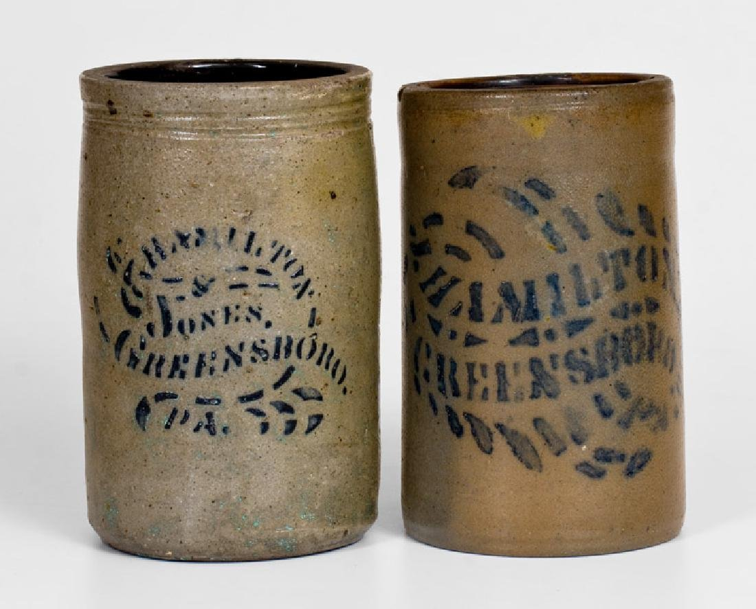 Two Greensboro, PA Stoneware Canning Jars, circa 1875