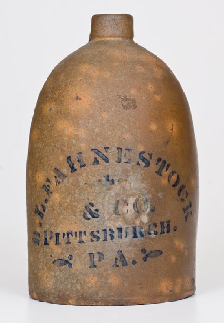 1/2 Gal. Western PA Stoneware Jug with Pittsburgh
