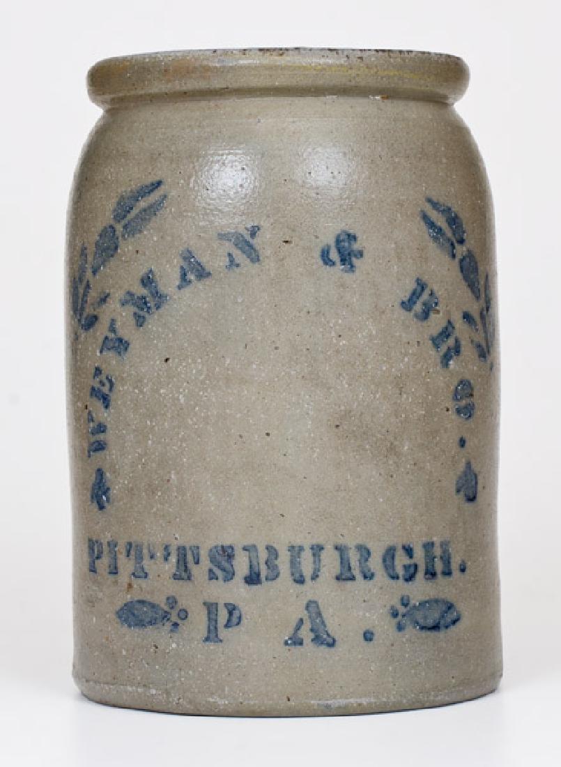 WEYMAN & BRO. / PITTSBURGH, PA Stoneware Tobacco Jar